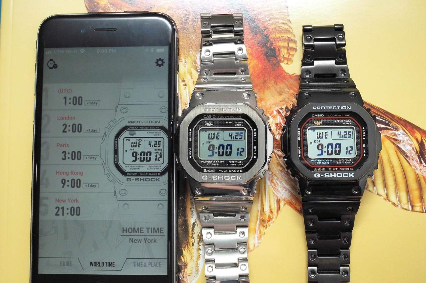 G-Shock Connected App showing two Full Metal 5000 Series watches in perfect sync