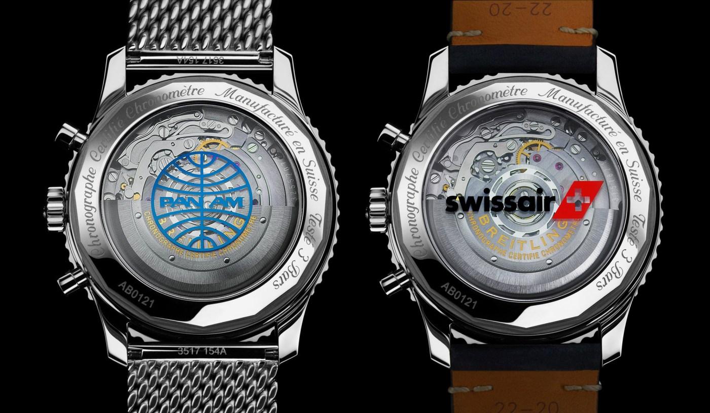 Breitling Navitimer 1 B01 Chronograph 43 Pan Am and SwissAir Edition casebacks