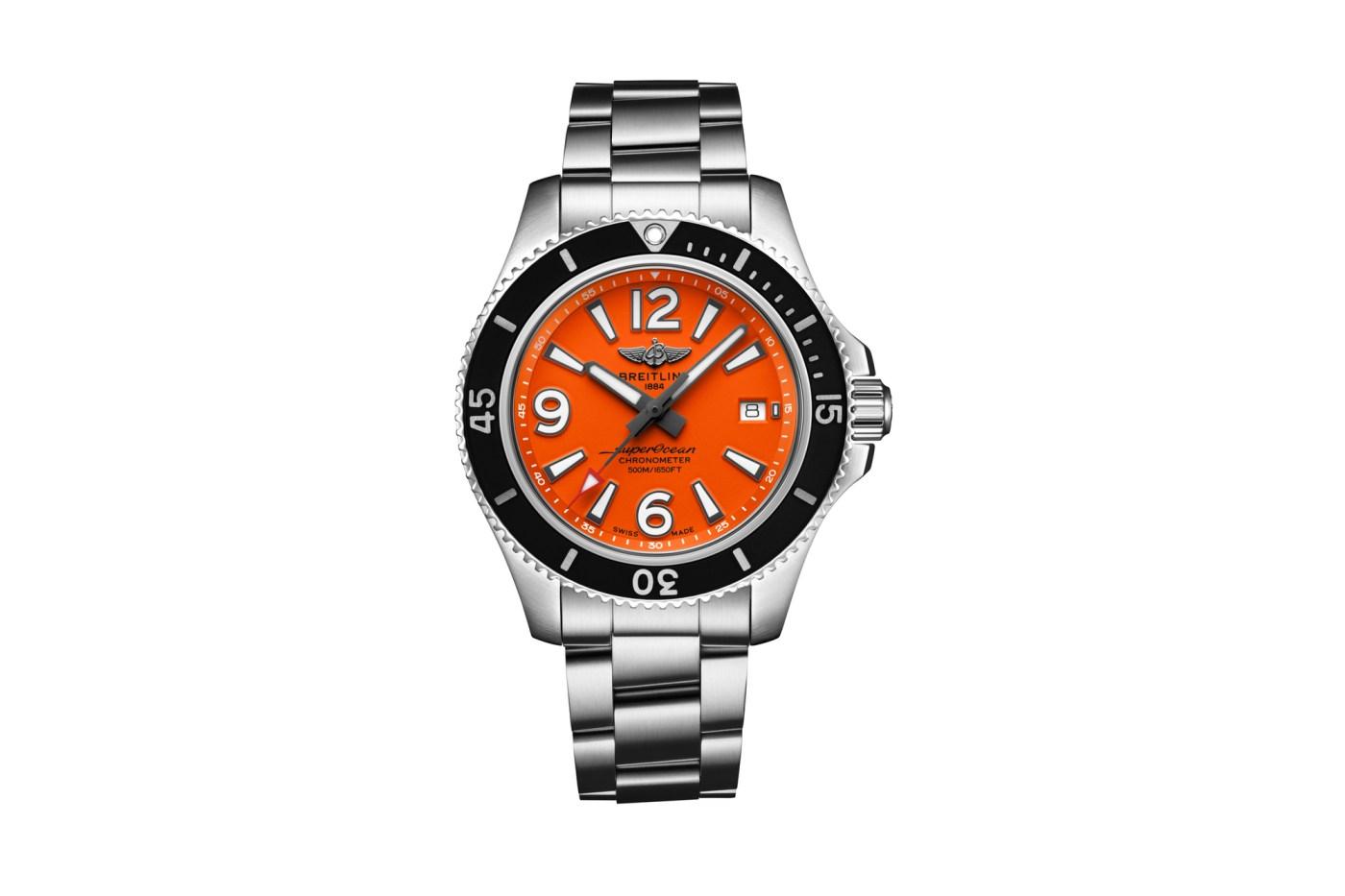 Breitling Superocean 42 orange dial stainless steel bracelet