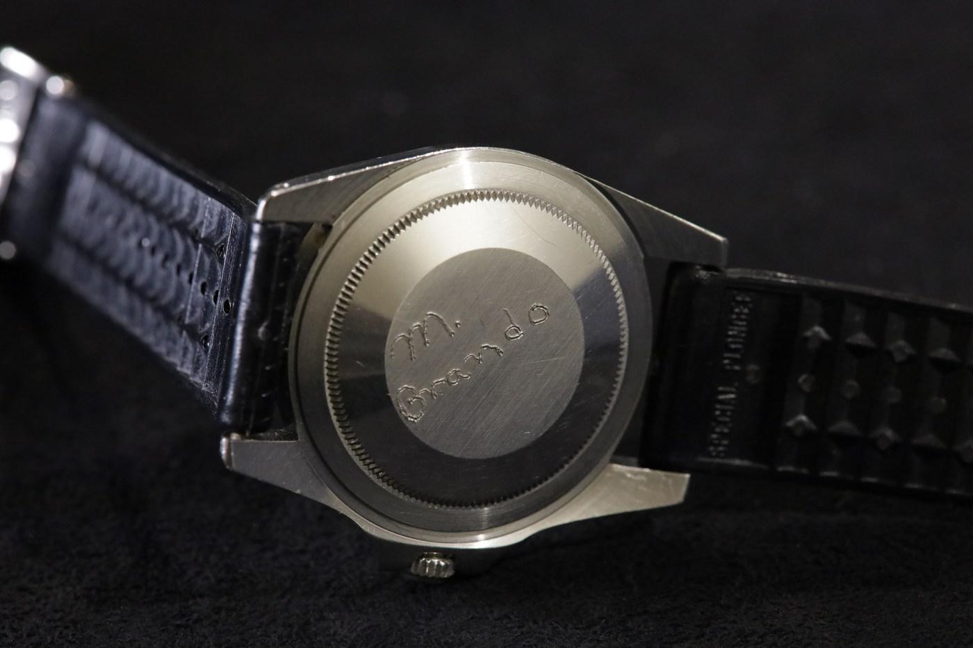Marlon Brando's Rolex GMT-Master personalized casebackk