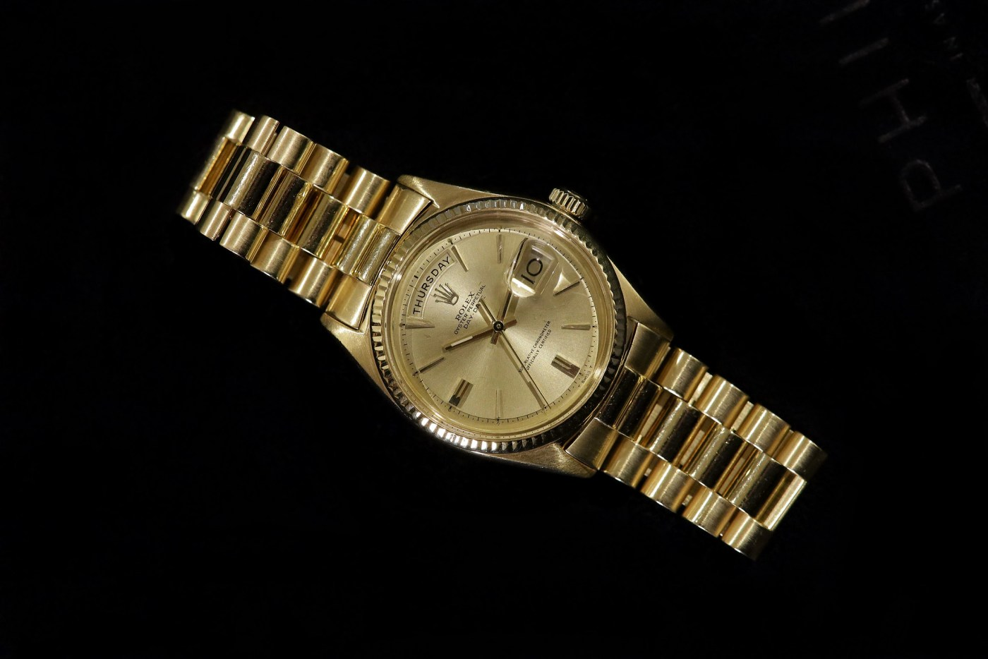 Jack Nicklaus 1967 Yellow Gold Rolex Day-Date Ref. 1803 flat angled