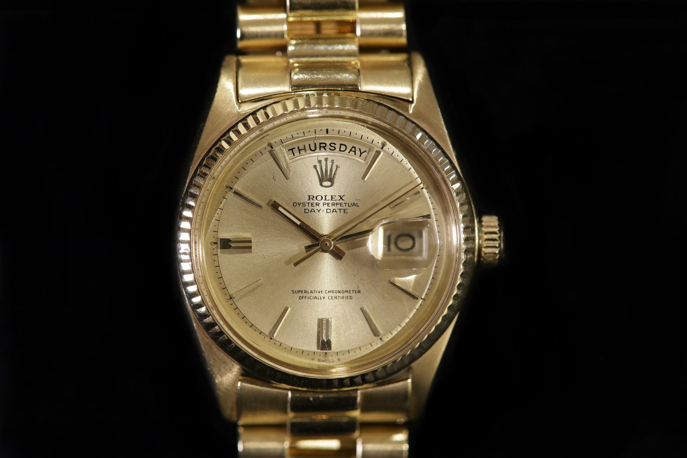 Jack Nicklaus 1967 Yellow Gold Rolex Day-Date Ref. 1803 dial close-up