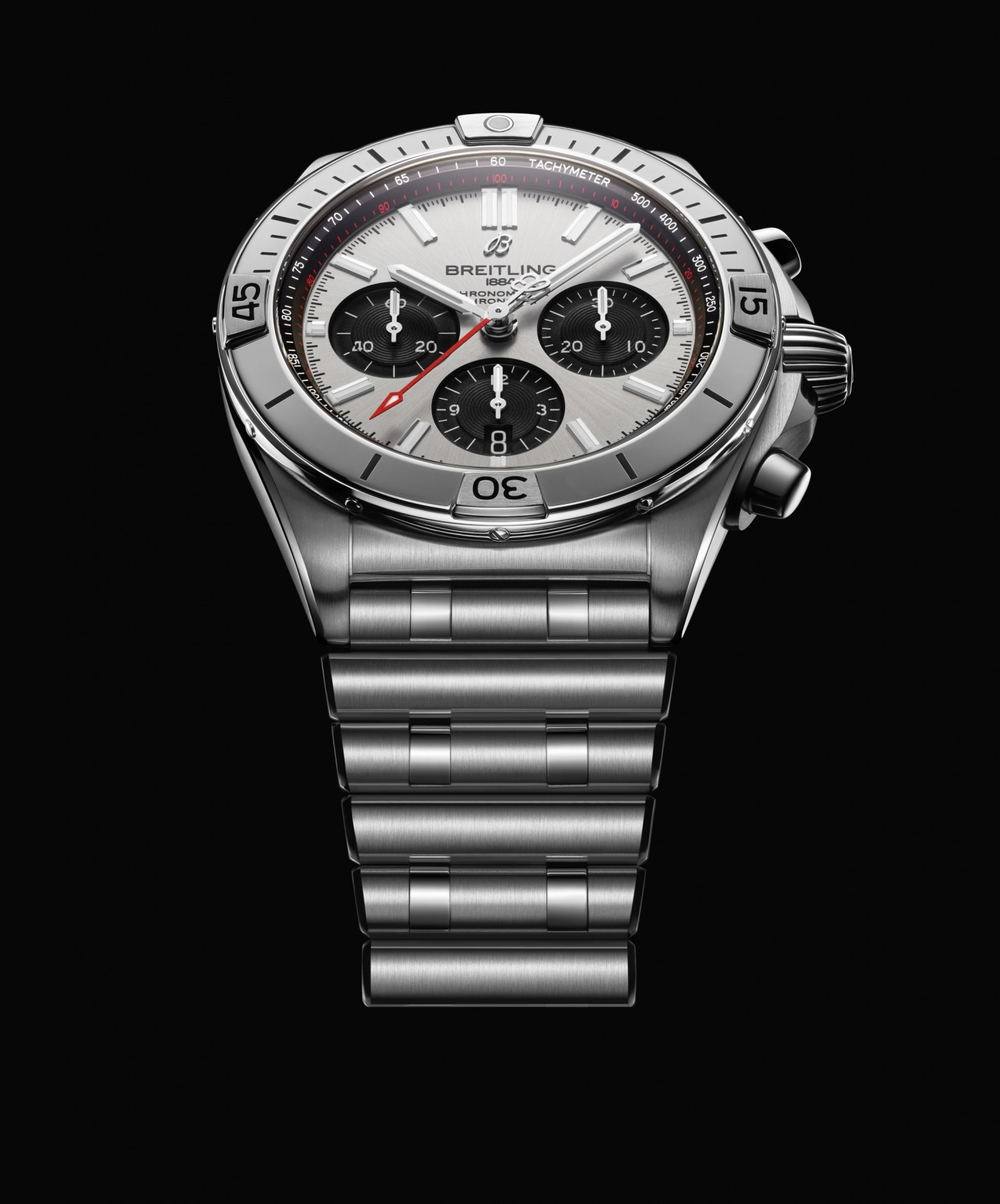 Chronomat B01 Chronograph 42 with silver dial and black subdials
