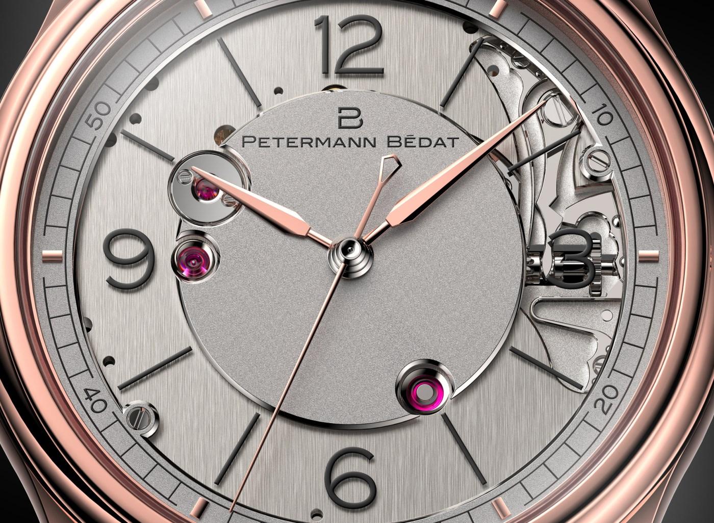 Petermann Bedat 1967 red gold dial closeup