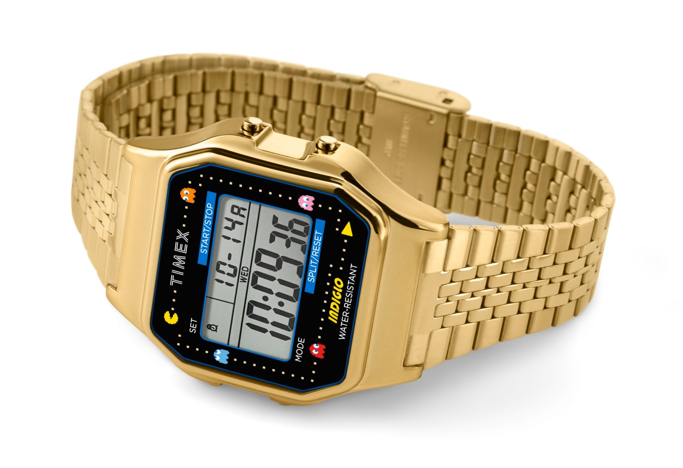 Timex x Pacman T80 gold tone laying on side