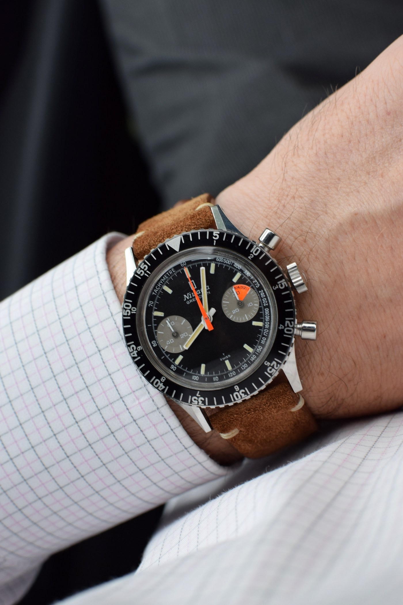 "Nivada Grenchen Chronomaster Aviator Sea Diver (CASD) ""Special Logo"" Ref. 0/4076 wristshot"