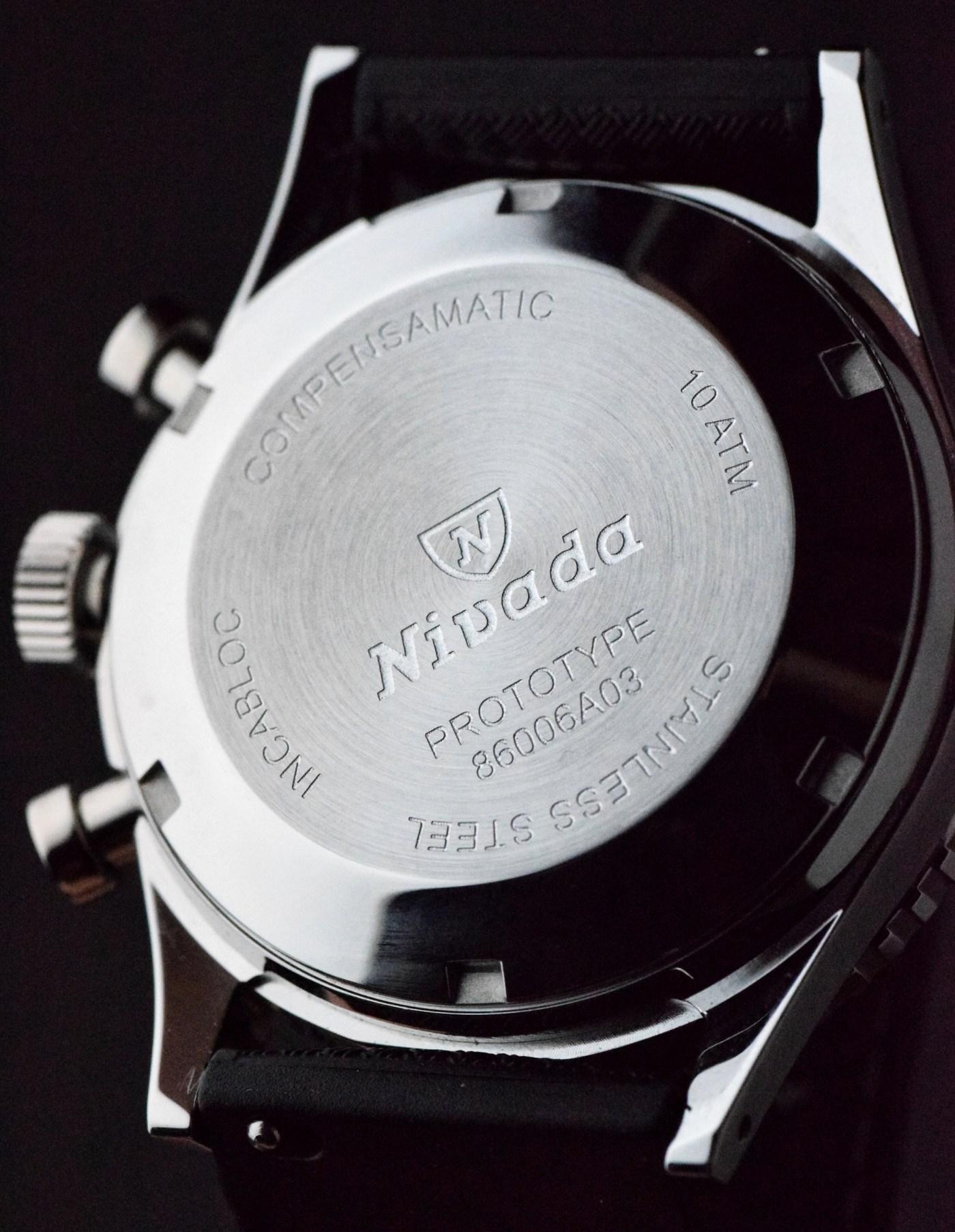 Nivada Grenchen Chronomaster Aviator Sea Diver caseback