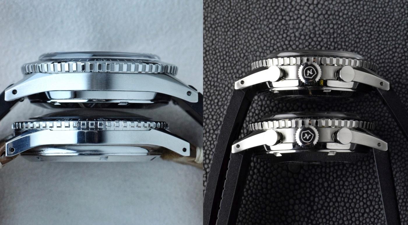Nivada Grenchen Chronomaster Aviator Sea Diver thickness comparison