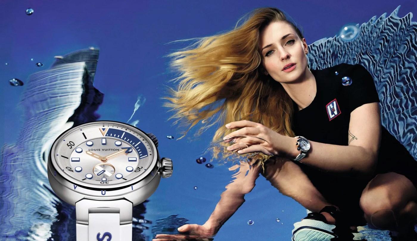 Sophie Turner wears Louis Vuitton Tambour Street Diver