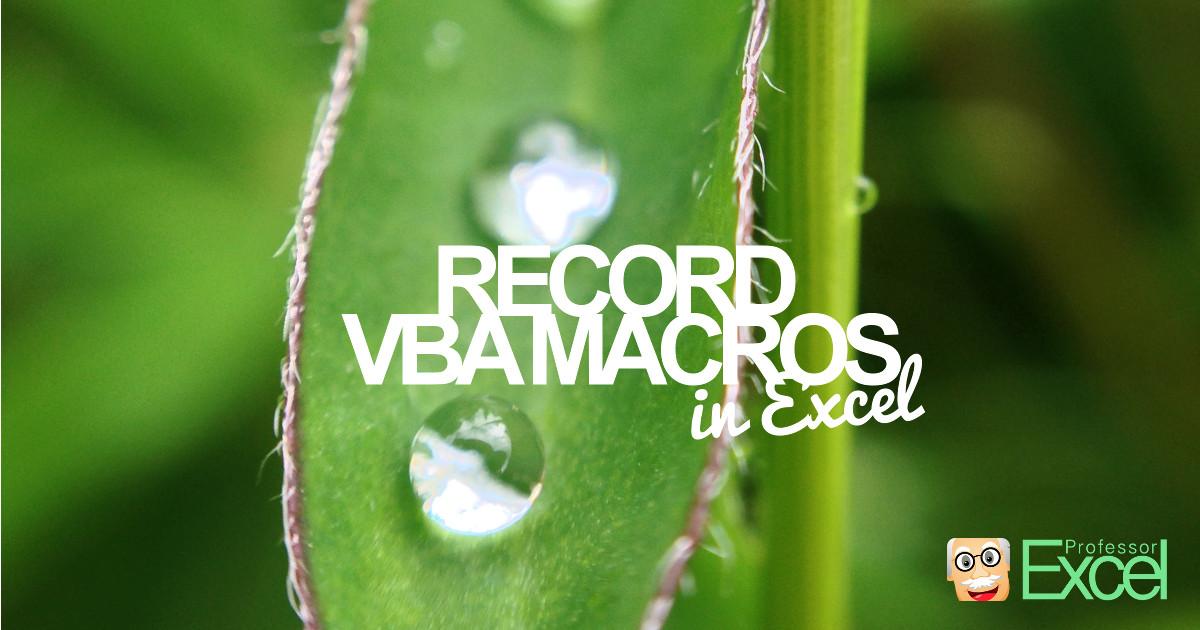 record, vba, macros, excel