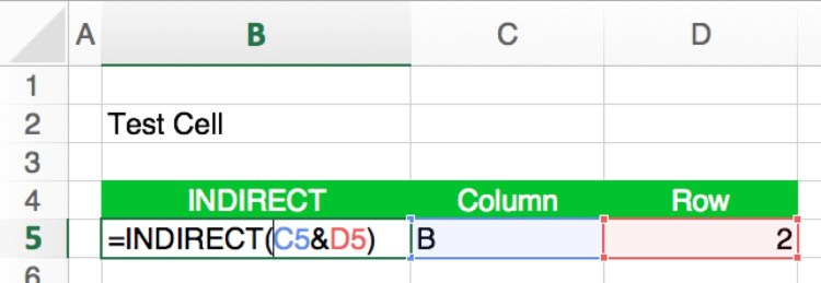 indirect, formula, cell, reference, example