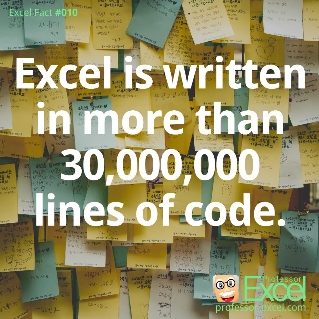 excel, excel fact, fact, lines, code, lines of code