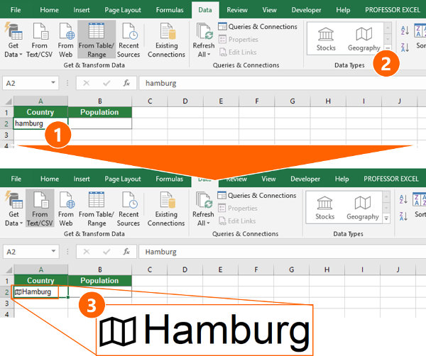 Preparation for using the new data types in Excel.
