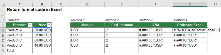 Comfortably return the number format code using Professor Excel Tools.