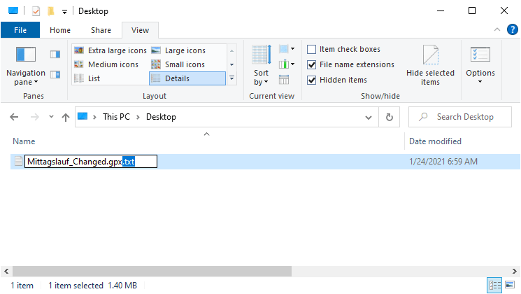 """Make sure that it's really saved as .gpx file. Delete """".txt"""" from the file name if necessary."""
