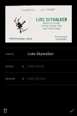 Reviewing and editing contact information using Evernote Business Card capture