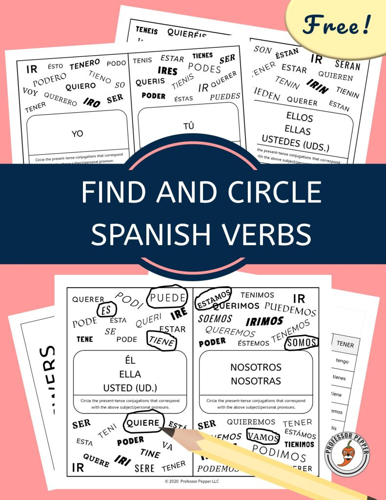 Free Find and Circle Spanish Verbs Download