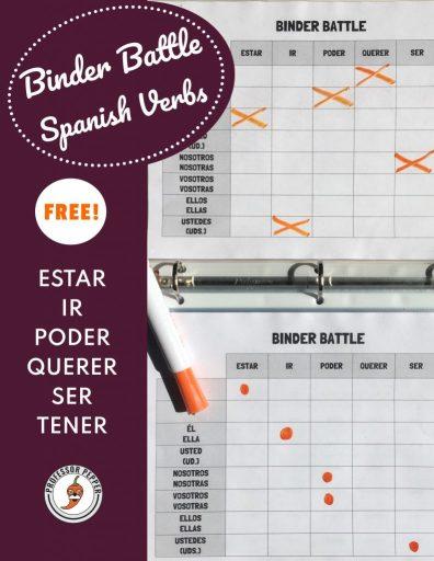 Free printable Spanish Verb Binder Game