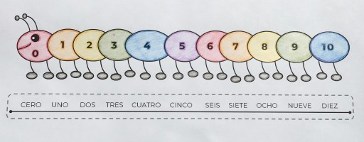 """Example of Spanish numbers caterpillar and """"ruler"""""""