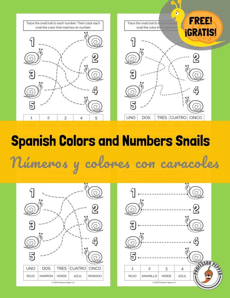 Números y colores con caracoles gratis para imprimir