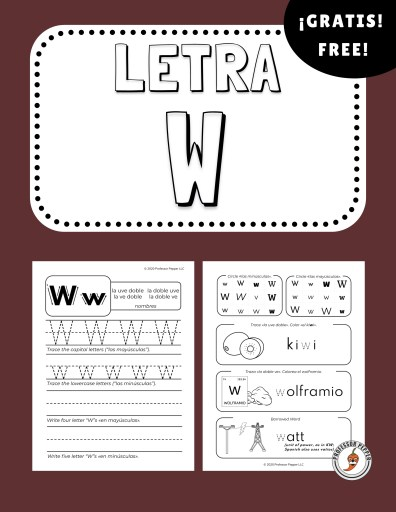 Free Spanish Letter W Worksheet