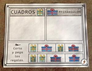 Example of interactive cuadros versus rectángulos page