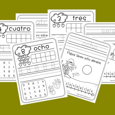 Example of Free Spanish Numbers Worksheets