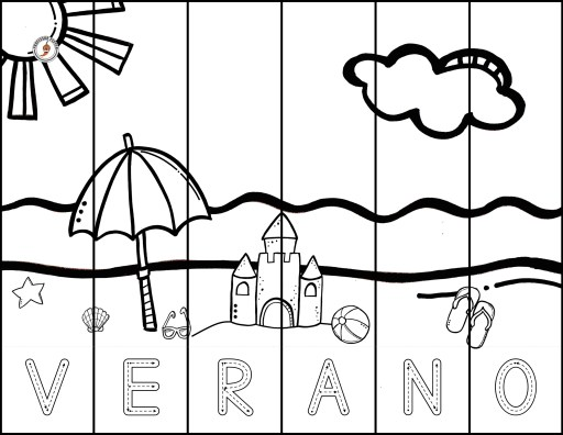 """Page from the Summer Spanish printable:  Pieces spell out """"verano"""""""