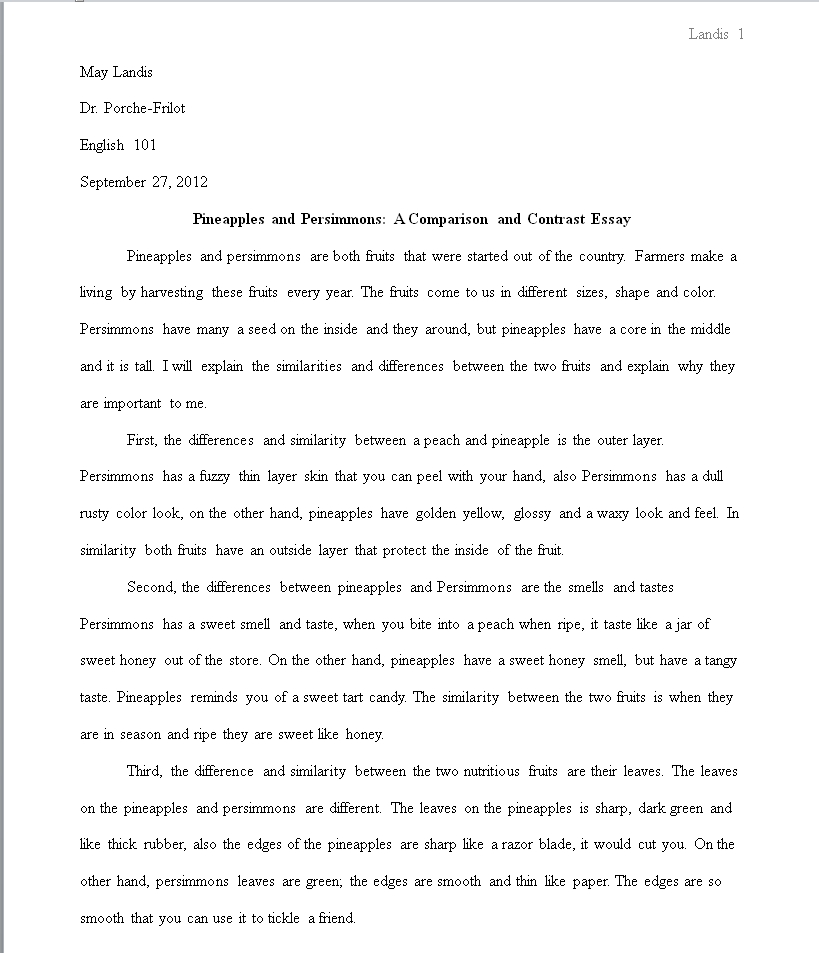 sample college entrance essays