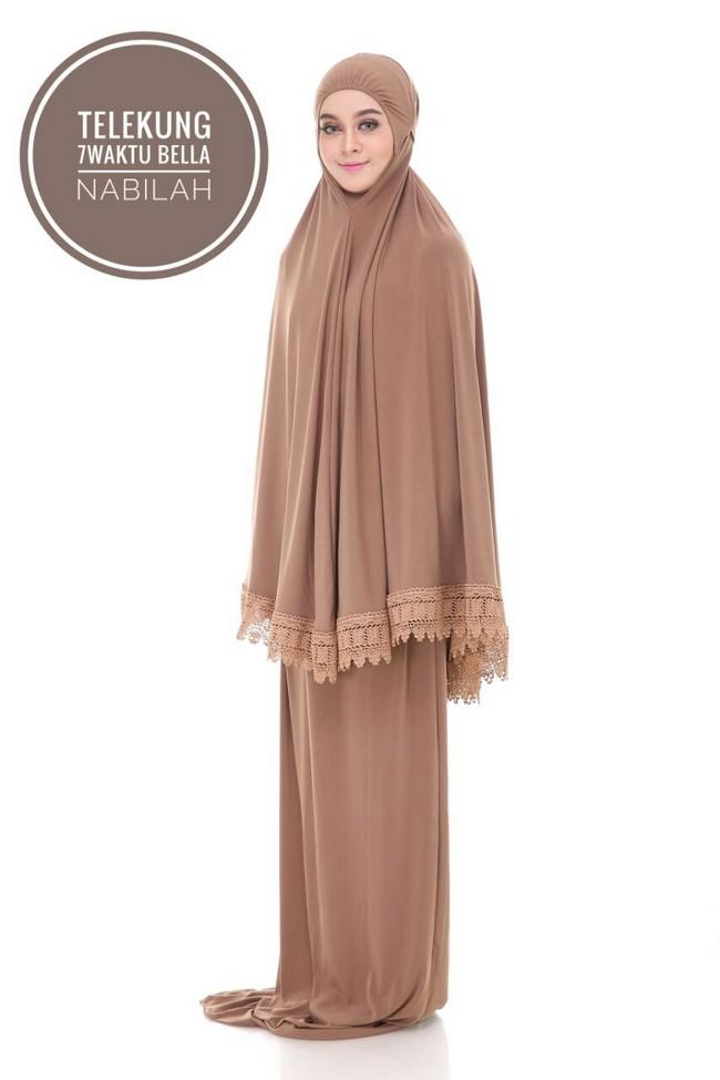 telekung 7 waktu - soft brown