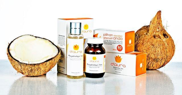 produk berasaskan minyak kelapa dara vco d'aura