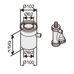Отвод для конденсата коаксиальный горизонтальный, Ø60/100 AZ 401