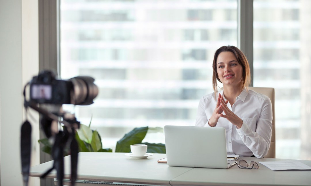 Woman being filmed