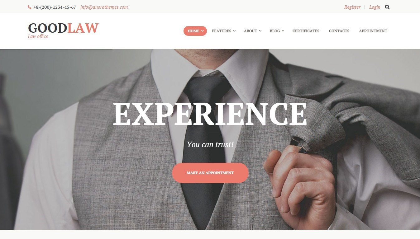 GoodLaw — lawyers and legal experts theme on WordPress