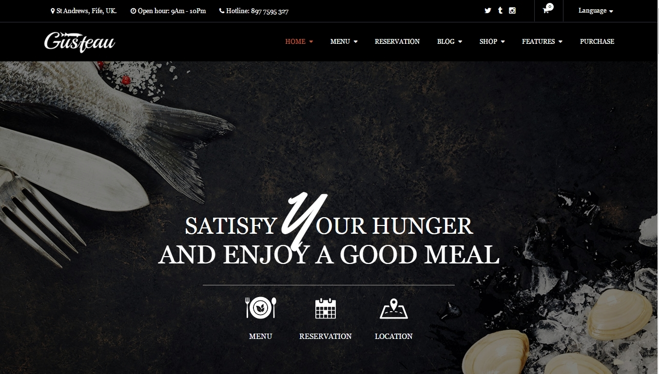 Gusteau – elegant WordPress template for a restaurant