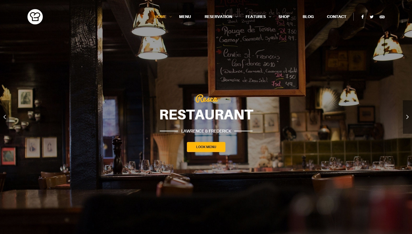Resca — WordPress theme for a restaurant and bistro