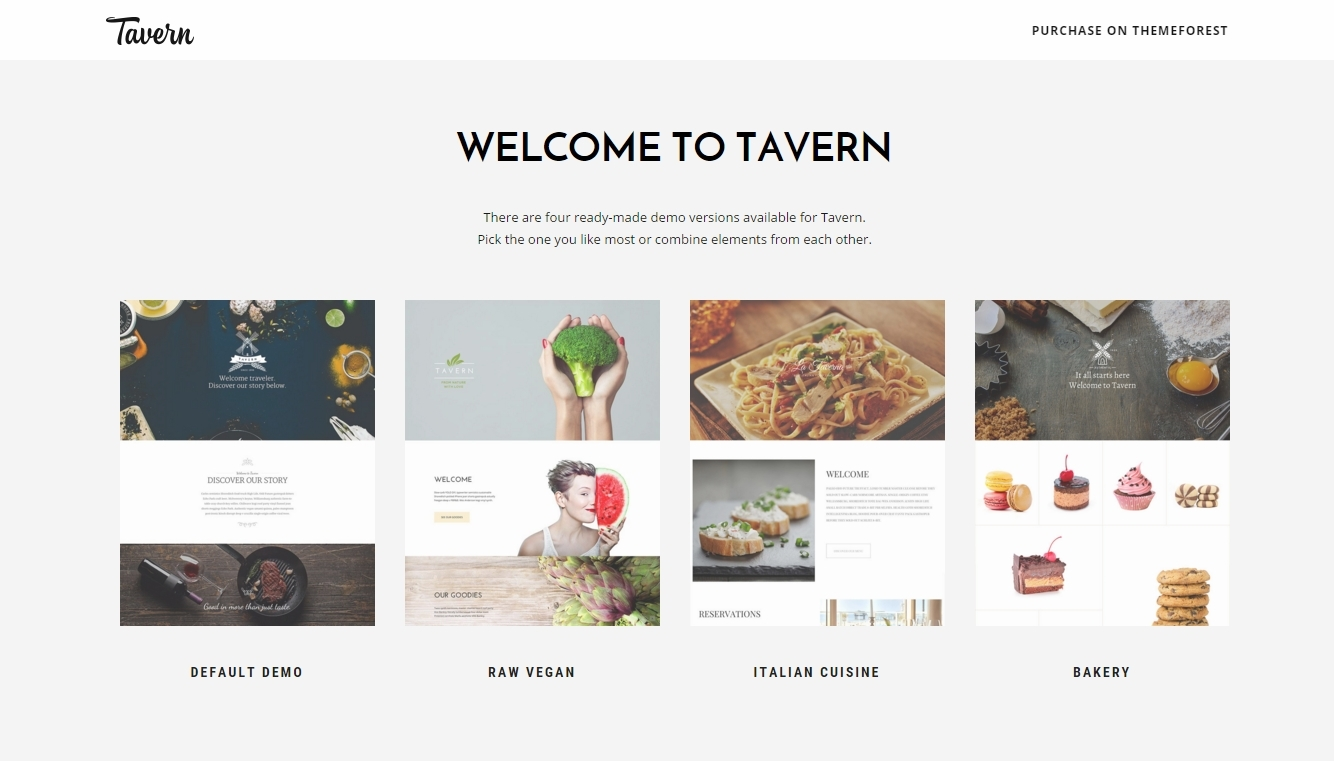 Tavern — professional WordPress themes for a restaurant and coffeehouses
