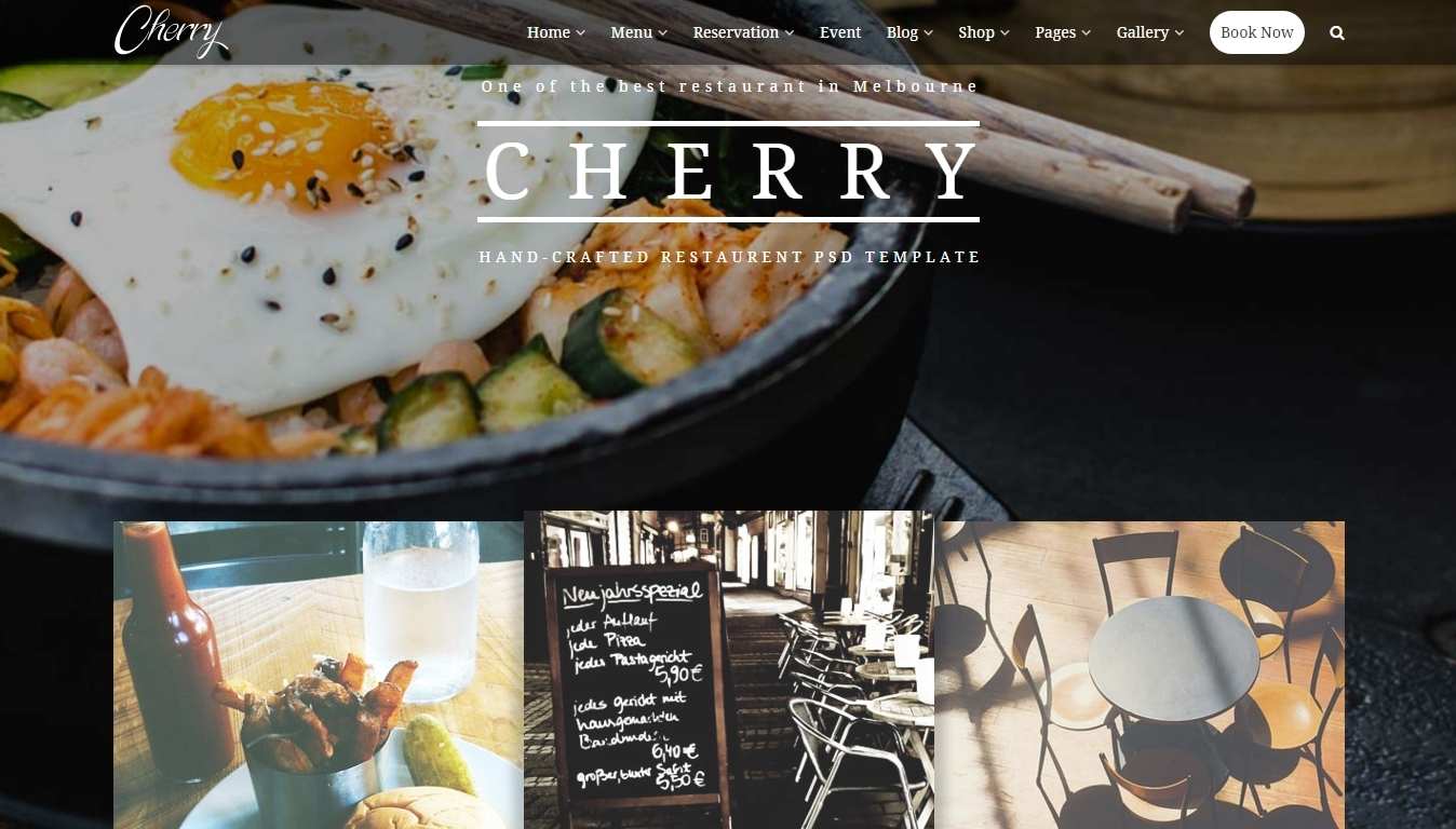 WordPress theme for caffeehouse or restaurant website
