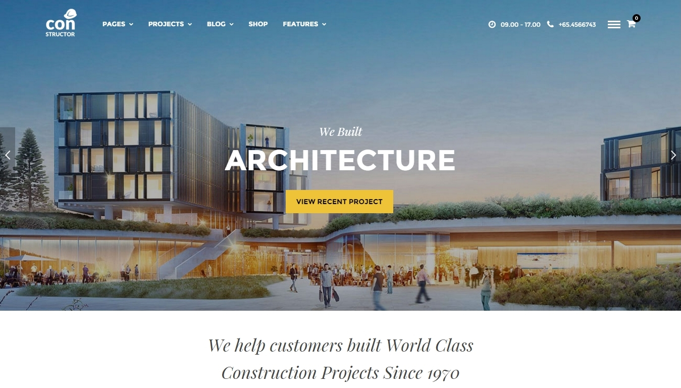 WordPress theme for construction business