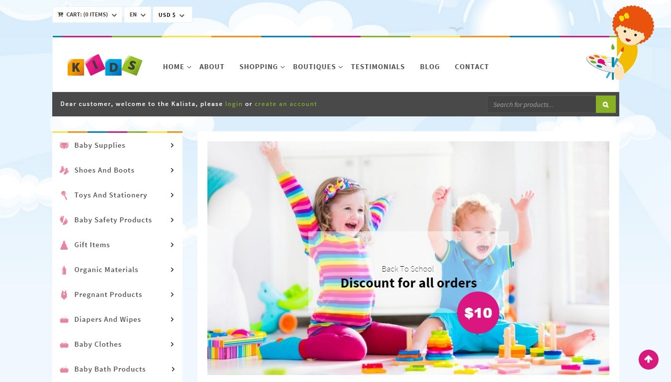 WooCommerce theme for an online baby-goods store