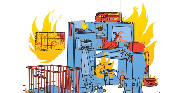 Illustratie van rommelig werkhoek