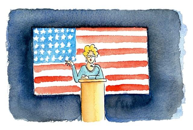 Illustratie van docente die achter een kateder en voor een Amerikaanse vlag lesgeeft