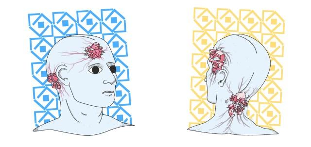 Illustratie van buitenaardse achtig kale hoofden met cristalen in zijn hoofd