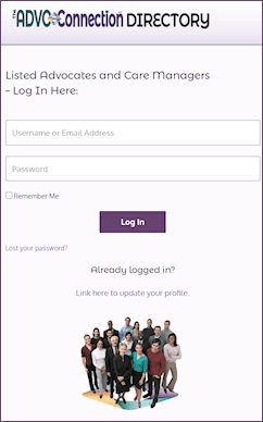 Listed Advocates can log in here.
