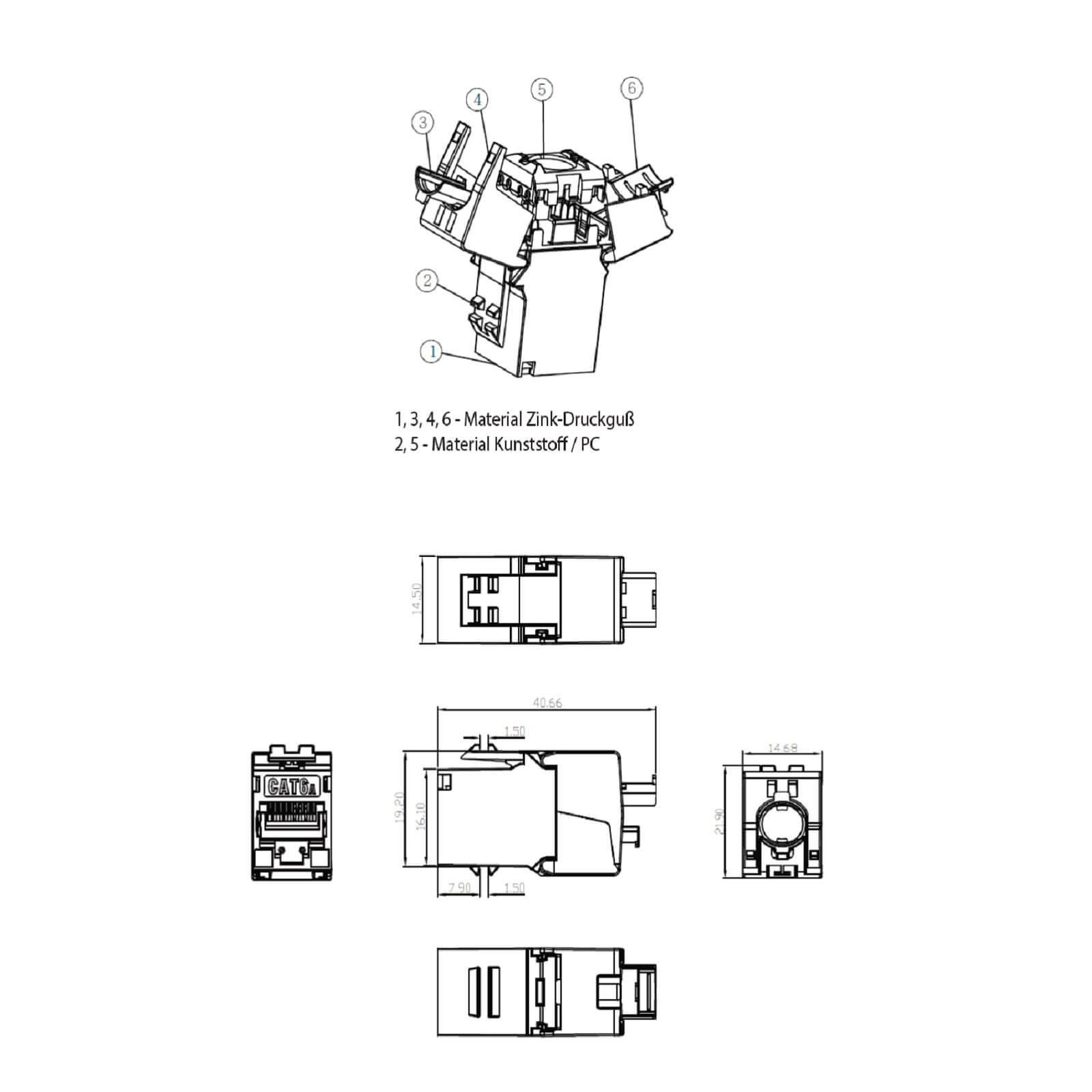 Keystone Jack Modul Cat6a Slim 500mhz 10gbit Rj45