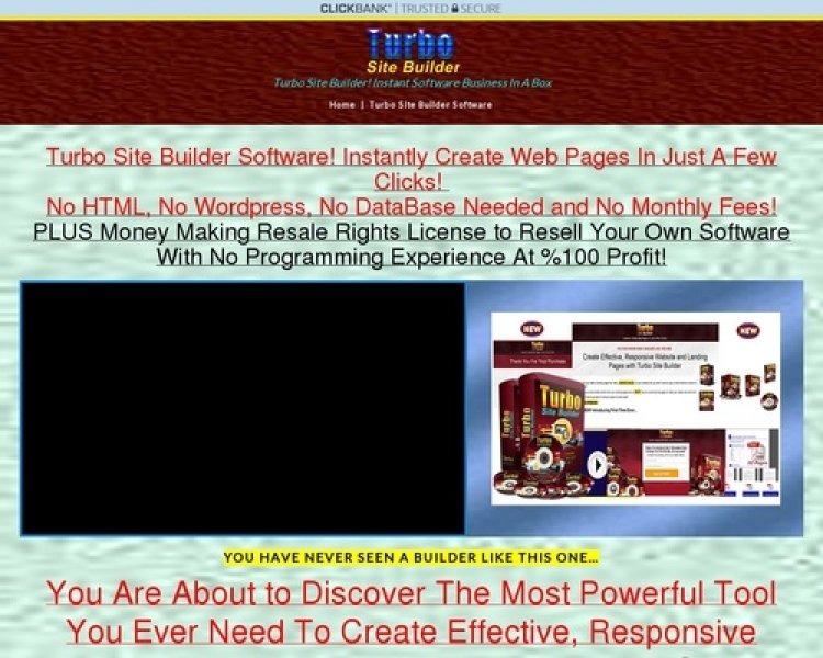 "Turbo Site Builder Software ""resale Rights"""