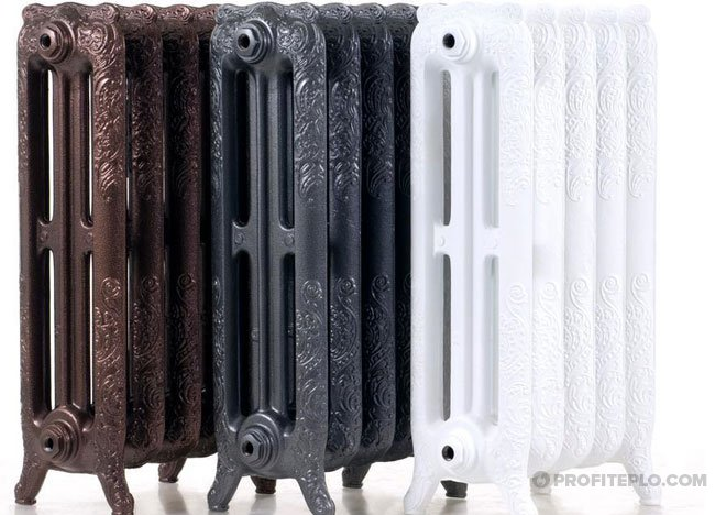 Cast iron radiators.