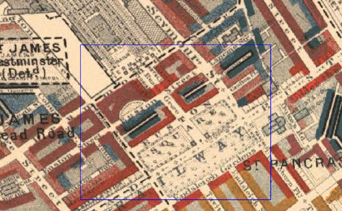 Booth Survey of London (1886), with Euston Square and Euston Grove highlighted - close-up