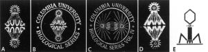 Logos for the Columbia Biological Series. From Joe Cain. 2001. The Columbia Biological Series, 1894-1974: a bibliographic note. Archives of Natural History 28: 353-366. https://www.euppublishing.com/doi/pdfplus/10.3366/anh.2001.28.3.353.