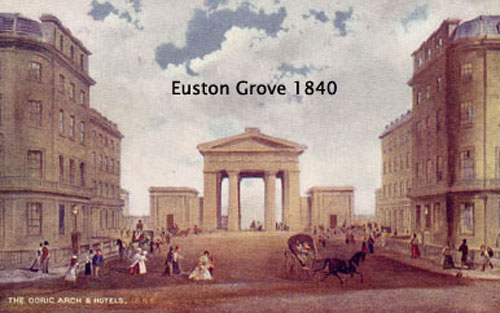 "Postcard, ""The Doric Arch and Hotels"" along Euston Grove at Euston Square, 1840, London."